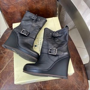 New! Lucky Brand black leather Moro wedges boots 6